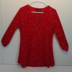 New Directions Red Floral Print Top